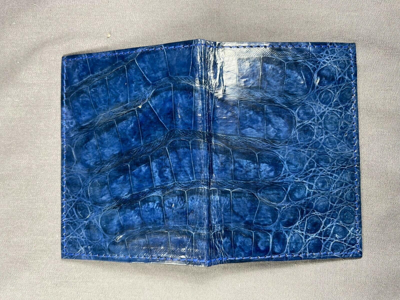 New Handmade Genuine BLUE Alligator /Crocodile Skin Deluxe Card Holder 4