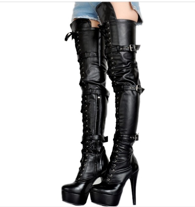 Women's Sexy High Slim Slim Slim Heel Over The Knee Thigh Boot Lace Up Buckle shoes Size f79bf9
