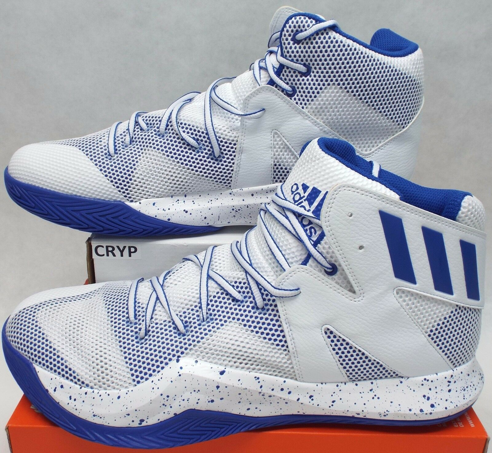New Mens 16 ADIDAS Crazy Bounce Mid White Blue Basketball Shoes Price reduction