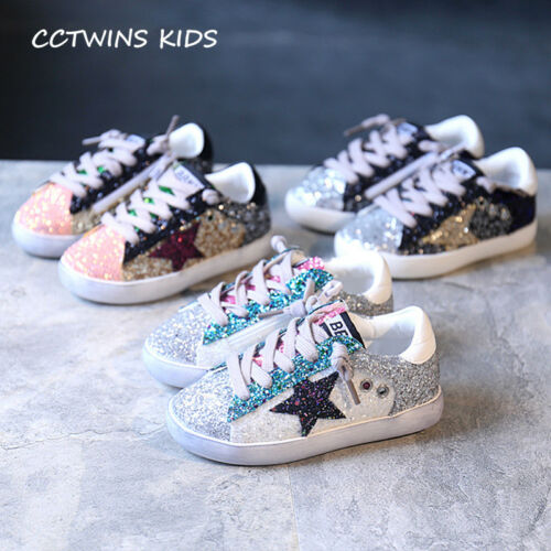 2017 Toddler Baby Glittler Shoe Girl Star White Sneaker Boy Sport Shoe Kid Child
