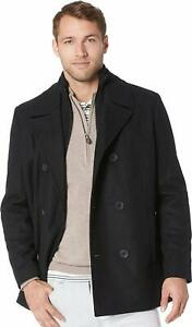 KENNETH-COLE-Double-Breasted-Wool-Blend-Pea-Coat-with-Knit-Collar-Medium-Black