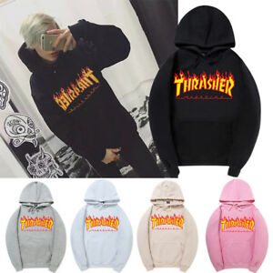 Thrasher-Magazine-Flame-Logo-Hooded-Sweatshirt-Hoodie-Rare-Offical-Stockist