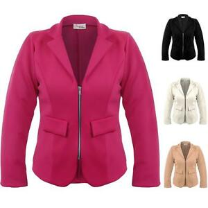 Ladies Plus Size Collared V Neck Zip Front Women's Smart Office ...
