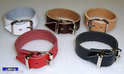 6 weiße Leder-Riemen 15,0 cm x 1,4 cm Kinderwagen Puppenwagen Koffer Hänger
