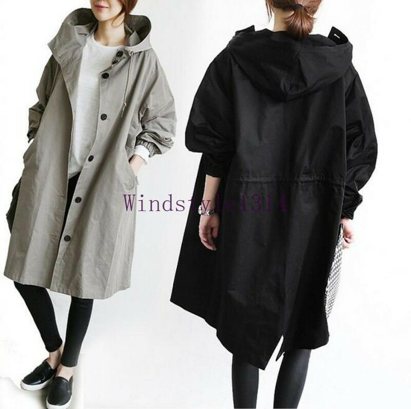 Women's Fashion Hooded Loose Korean Trench Coat Outwears Coat Long Parka Clothes