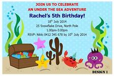 1 X Under The Sea Boys Girls Birthday Personalised Invitations Magnets