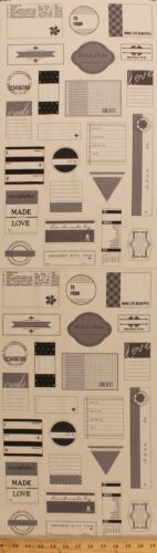 "12/"" X 44/"" hecho a mano con amor proyecto etiquetas etiquetas Panel De Tela De Algodón D775.09"