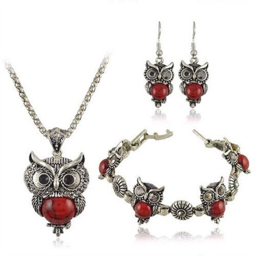 Exquis Vintage Hibou Collier Bracelet Set Boucles D/'oreilles Pendentif Bijoux Sets DB
