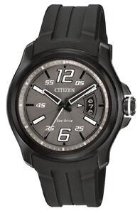 Citizen-Eco-Drive-Men-039-s-AW1354-15H-HTM-Charcoal-Grey-Dial-Black-Strap-43mm-Watch