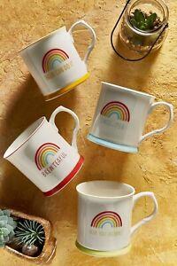 Set of 4 Rainbow slogan tea coffee tankard tableware serving China mugs