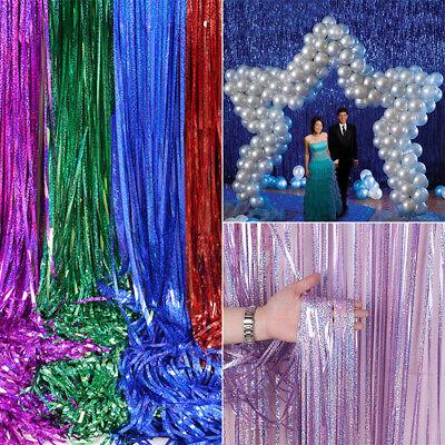 Glitter Laser Metallic Tinsel Foil Backdrop Curtains Xmas Party Decor 1//2//3//4M