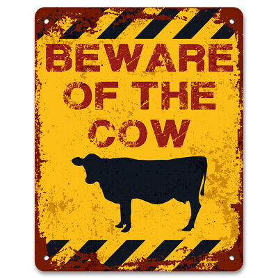 Beware Of The Cow | Vintage Metal Garden Warning Sign | Keep Out ...