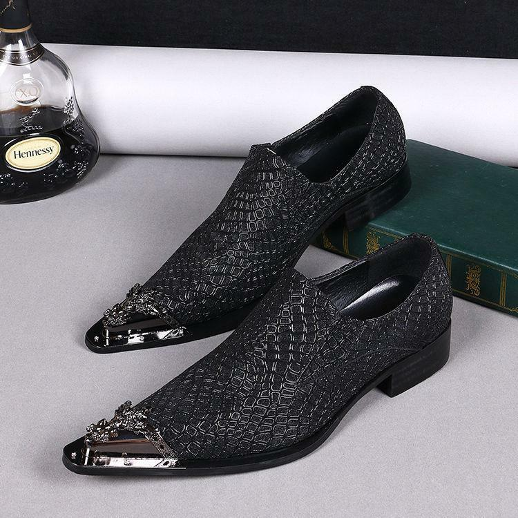New Uomo Metal Business Pointed Toe Pelle Business Metal Formal Dress Slip On Shoes Hot # a8962a
