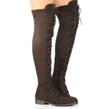 d96fabe5d02 item 2 Women s Ladies Thigh High Boots Over the Knee Low Heel Flat Lace Up  Shoes Combat -Women s Ladies Thigh High Boots Over the Knee Low Heel Flat Lace  Up ...