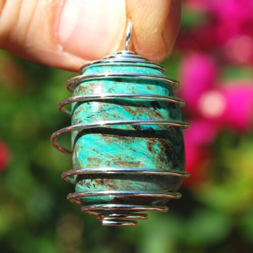 Peaceful Peruvian Chrysocolla Crystal Perfect Pendant™ + 20 Chain EMPOWERS