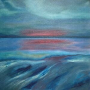 Original-Abstract-Devon-Seascape-Oil-Painting-on-Canvas-Contemporary-Wall-Art