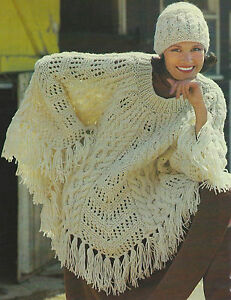 Details about Ladies Poncho & Hat Knitting Pattern Chunky Beautiful cable  design Retro 607