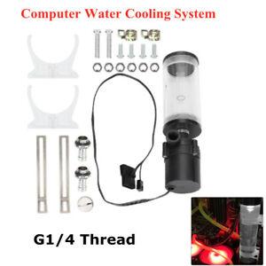 DIY PC Water Cooling Tank Cylinder Reservoir Pump Combo Set 110mm 19W 12V 600L/H