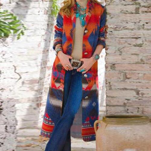 Winter Women Retro Floral Printed Long Trench Coat Windbreaker Jacket Overcoat
