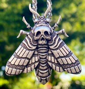 Antiqued Silver Plate Death Head Skull Hawk Moth Pendant Necklace.