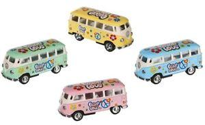 Blechspielzeug Metall Modellauto Rückziehmotor VW T1 Bus Bulli Vintage Hippie Blumenkinder