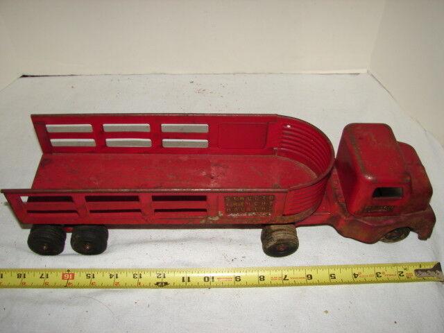Cochero Juguete Vintage Structo flete perfiladoras Rojo Semi Remolque Plataforma de cabina de acero prensado