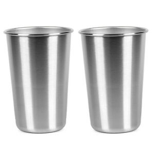 2pcs 16 ounce stainless steel small drinking cup beer wine glass set of 2 ebay. Black Bedroom Furniture Sets. Home Design Ideas