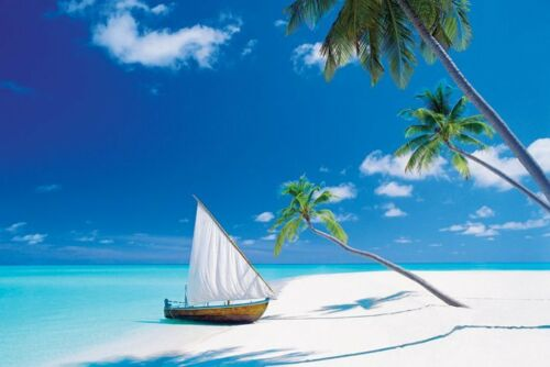 """Paradise Found photography poster 24x36/"""" Sailboat on the Beach"""