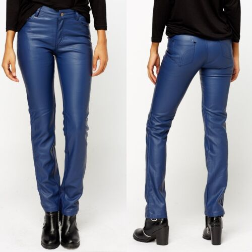121 BIKE LEATHER LOOK SKINNY PANTS MID RISE BLUE TROUSERS SIZE SIZE S M L XL