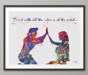 Details About Pocahontas John Smith Quote Love Disney Princess Watercolor Print Archival Fine