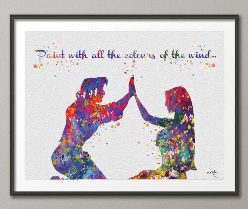 Pocahontas John Smith Quote Love Disney Princess Watercolor Print Archival Fine