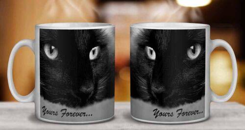 AC-1yMG Black Cat /'Yours Forever/' Coffee//Tea Mug Christmas Stocking Filler Gift