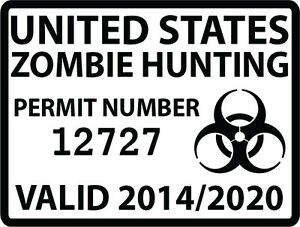 Zombie-Hunting-Permit-Individually-Numbered-Outbreak-Team-Decal-5-034-Biohazard