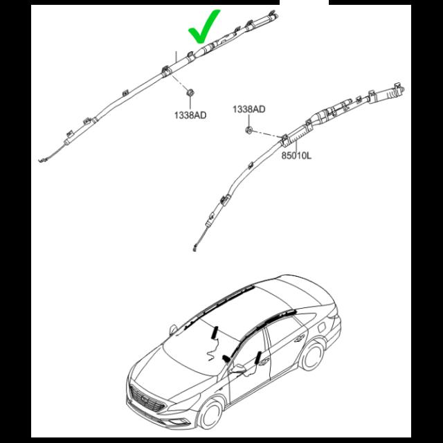 Oem 85020 C1010 Curtain Air Bag Module Right Ups For Hyundai Sonata