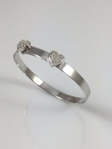 """925 Sterling Silver Solid Twin Heart Baby Bangle CZ Free Engraving 6.61gr 5.5/"""""""