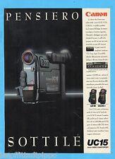 QUATTROR992-PUBBLICITA'/ADVERTISING-1992- CANON - UC15 8mm VIDEO CAMCORDER