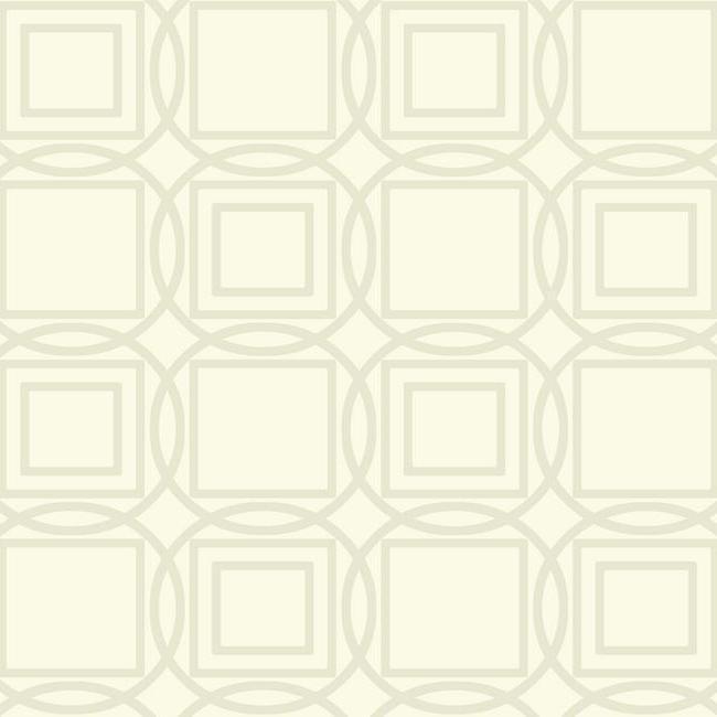 Wallpaper Mid Century Modern Raised Ink Geometric gold Circles Square On Cream