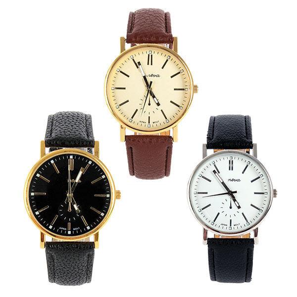 Fashion Analog Men Luxury Gold Dial Sports Leather Strap Quartz Mens Wrist Watch