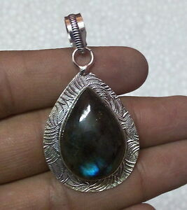 Natural-Firey-Labradorite-925-Silver-Overlay-Hand-Made-Pendant-50mm-GB-1153