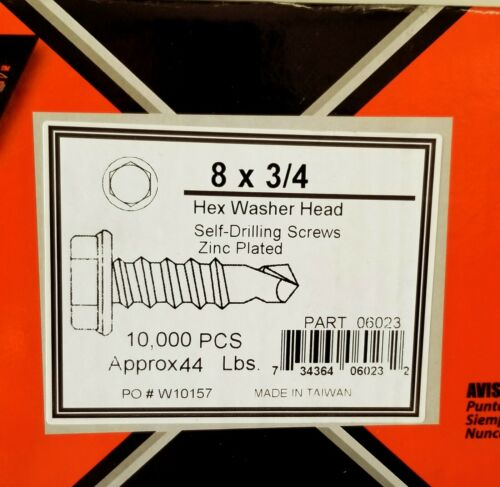 "#8 x 3//4/"" Hex Washer Head Self Drilling Zinc Screws 10,000//Master Case"