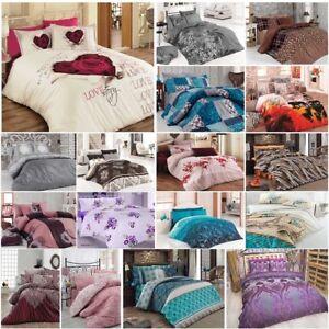 Bettwäsche 200x200 cm Bettgarnitur Bettbezug Baumwolle 5 tlg Kissen VAR #14