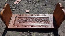 Vintage Tallado De Latón Incrustación de Madera extender libro final diapositiva, artesanías, India