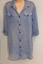 New Dotti Swimsuit Bikini Cover Up Dress Size 2X Crinkle Shirt  Denim