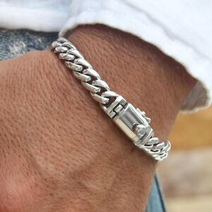 Men-Bracelet-Necklace-925-Solid-Sterling-Silver-Elegant-Chain-Link-size-7-8-9-28
