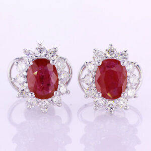 3-74-CT-Ruby-amp-Diamond-Earrings-F-SI-in-18K-White-Gold