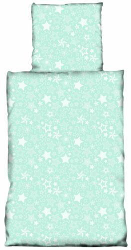 3 tlg Bettwäsche 200x200 cm Sterne Stars mint weiß Baumwolle Renforce Set