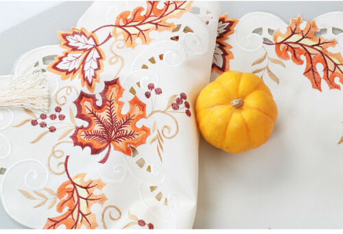 Embroidered Fall Maple Leaves Table Runner Thanksgiving Wedding Party Decor New