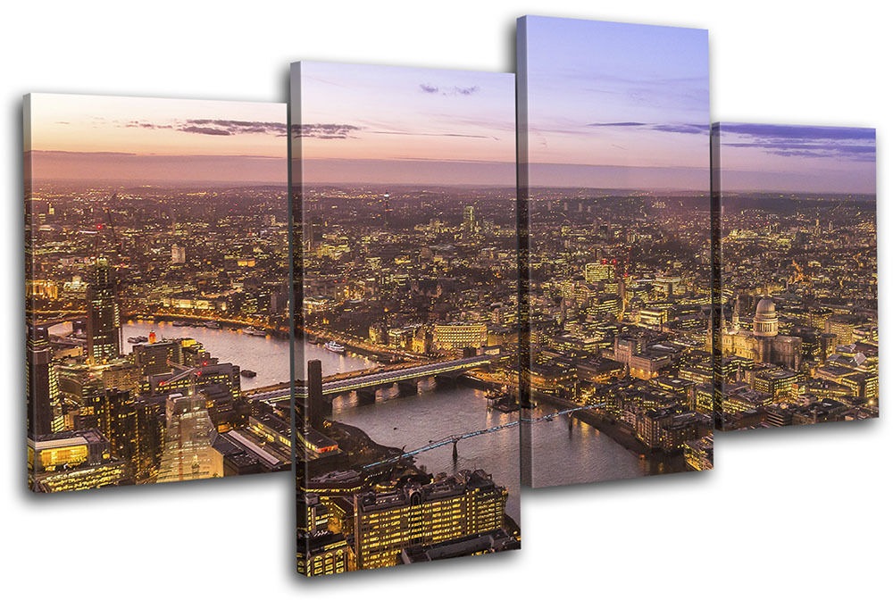 London Aerial Night City MULTI TELA TELA TELA parete arte foto stampa 4ac7c3