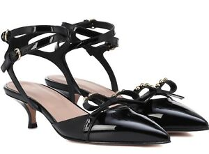 1f940808715e Image is loading RED-VALENTINO-Black-Patent-Leather-Studded-Bow-Slingback-