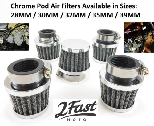 Short Chrome Clamp On Air Filter Cleaner POD Honda Cafe Racer Chopper Bobber NEW